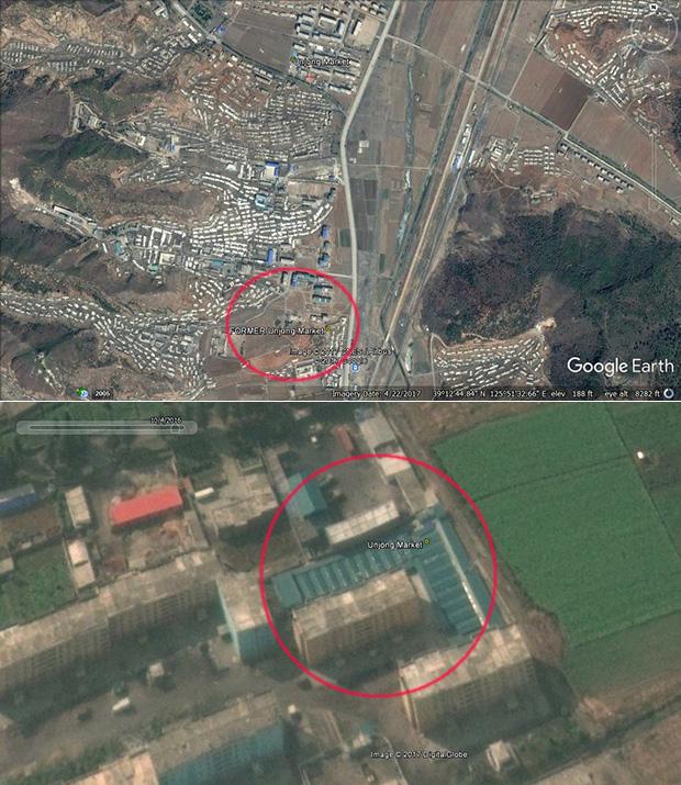 북한 시장 중에는 접근성, 확장성을 염두에 두고 아예 자리를 옮긴 시장도 적지 않다. 시장 위치를 옮기기 전의 평안남도 은정시장.(사진 위)