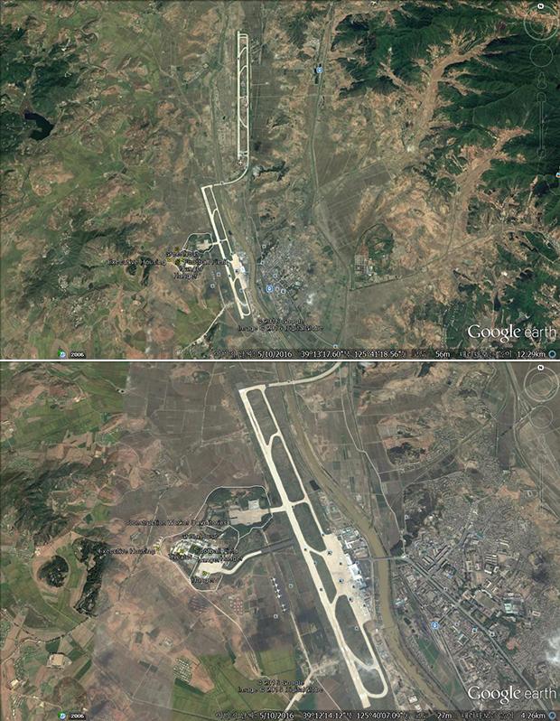 평양국제공항에서 서쪽으로 약 1km 떨어진 곳에 조성된 고려항공 정비 단지. 중앙 활주로와 연결돼 있으며 고려항공 여객기뿐 아니라 공군 소속 전투기나 비행기 등도 정비를 받을 것으로 추정된다.  사진-구글 어스 캡쳐/커티스 멜빈 제공