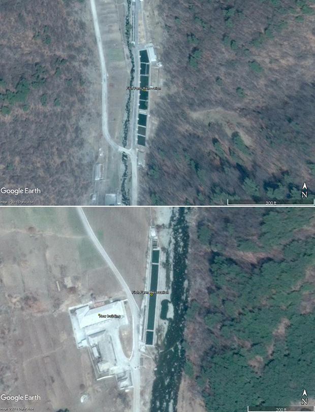'14호 수용소' 안의 3개 양식장이 새로운 모습으로 탈바꿈했다. 이곳에서 수확한 수산물은 수용소 내부에서 소비하거나 외부에 판매하는 용도일 것으로 추청된다. 사진-구글 어스 캡쳐/커티스 멜빈 제공