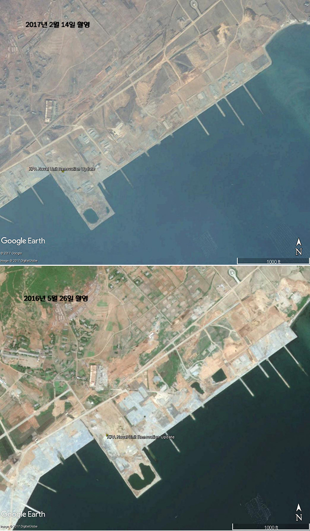 북한 해군 제291부대의 공기부양정 기지의 확장공사 모습. 바다를 메워 만든 부두 위에 외부와 연결한 철도 공사를 완료하고, 새 건물도 새로 짓고 있다. 김정은 위원장의 지시 이후 공사는 더딘 속도로 진행되고 있지만, 해군 전력의 증강을 위한 노력은 계속되고 있다.