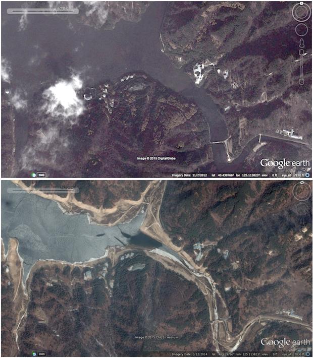 2012년(위)과 2014년(아래) 북한 평안북도 창성군 지역을 비교한 사진. 이 지역은 김정은 제1위원장의 별장이 있는 곳으로 어릴 때 수상 스포츠를 즐겼던 곳으로 유명하다. 눈에 띄게 물이 줄어들었음을 확인할 수 있다. 사진-구글 어스 캡쳐/ 커티스 멜빈 제공
