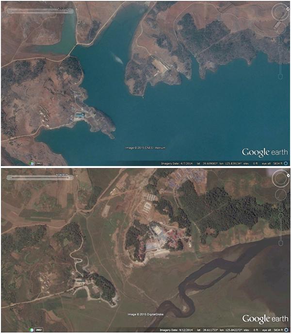 2014년 4월(위)과 2014년 9월(아래), 북한 평안남도 연풍호 지역을 비교한 사진. 불과 5개월 만에 호수가 바닥을 드러냈다.  사진-구글 어스 캡쳐/ 커티스 멜빈 제공