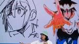 웹툰 '갓 오브 하이스쿨' 박용제 작가가 경기 부천 한국만화박물관 상영관에서 열린 랜선 팬미팅에서 캐릭터 라이브 드로잉 쇼를 선보이고 있다.