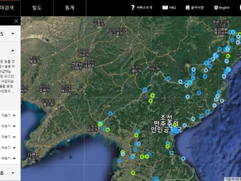 북한인권정보센터(NKDB)가 지난 23일 재오픈한 북한 인권 침해 지도인 'VISUAL ATLAS' .