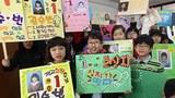 경기도 수원 고색초등학교에서 전교회장과 부회장에 출마한 어린이들의 선거 운동 모습.