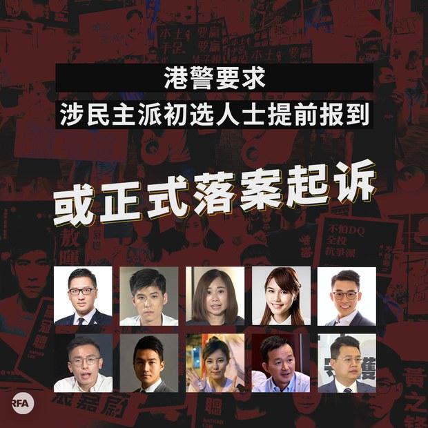 港警或用国安法控告53名民主派初选人士