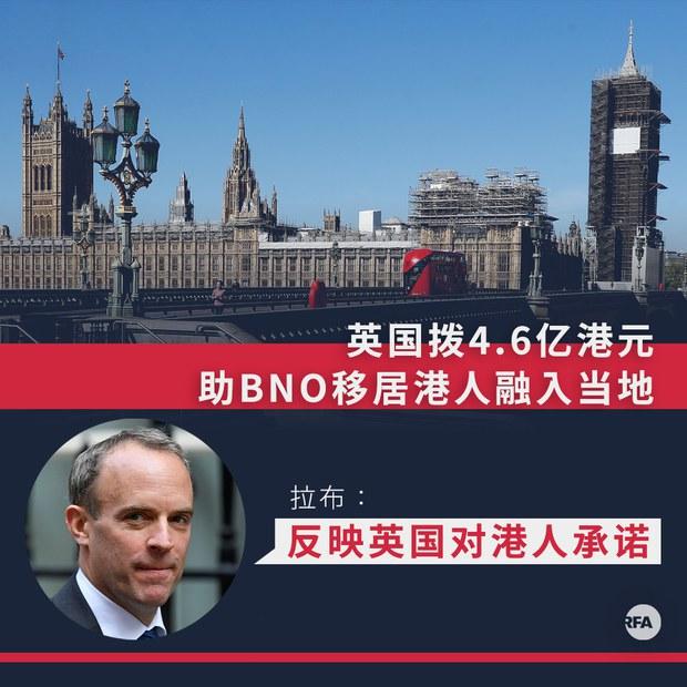 英国拨4.6亿港元助BNO移居港人融入当地