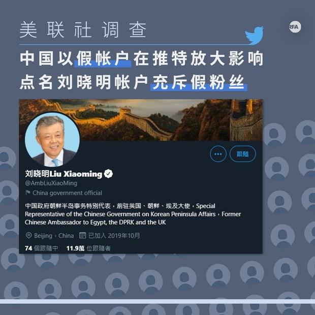 美聯社調查:中國以假帳戶在推特放大影響