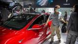 2020年9月26日,在北京國際汽車展覽會上,遊客參觀特斯拉展示的汽車。