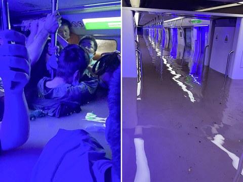 2021 年 7 月 20 日拍摄并由微博用户提供的照片,显示了河南省郑州市暴雨后淹没的地铁车厢。