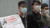 2020年6月3日,香港的抗议者在抗议港版国安法,左一为黄之锋。(美联社)