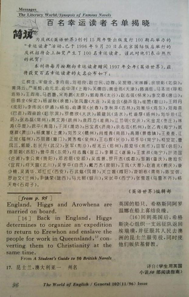 1996年11月号《英语世界》杂志第96页上,公布了百名幸运读者名单。江棋生位列第一。(江棋生提供)
