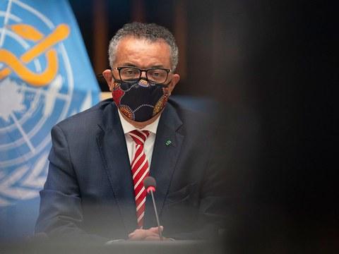 图为, 世界卫生组织总干事谭德塞(Tedros Adhanom Ghebreyesus)