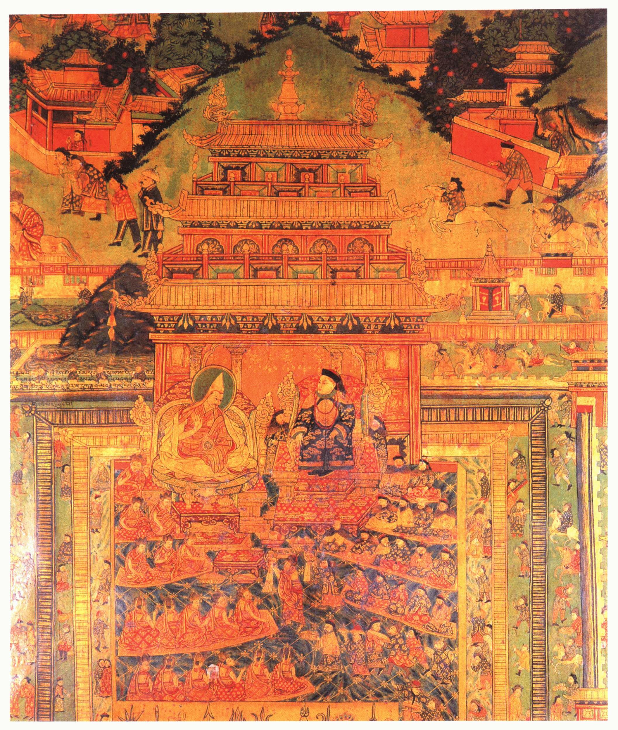 布达拉宫壁画,描绘了五世达赖喇嘛与满清顺治皇帝的会见场景。(唯色提供)