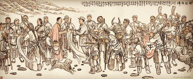 中共宣傳畫:紅軍經過康區,朱德與格達活佛會面。