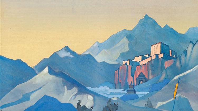 尼古拉斯·洛裏奇繪畫的江扎寺。(圖片來自推特)