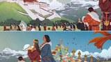 這幅在網上流傳的繪畫,表達了藏人對尊者達賴喇嘛的思念和祈祝。依藏傳佛教信仰的傳統,達賴喇嘛是觀世音菩薩的化身,如圖所示。原作是長畫,但未找到,繪畫者不明。