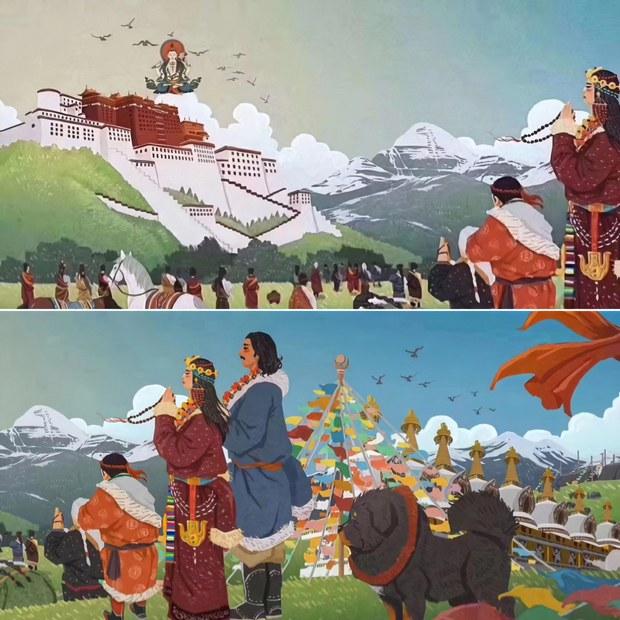 这幅在网上流传的绘画,表达了藏人对尊者达赖喇嘛的思念和祈祝。依藏传佛教信仰的传统,达赖喇嘛是观世音菩萨的化身,如图所示。原作是长画,但未找到,绘画者不明。