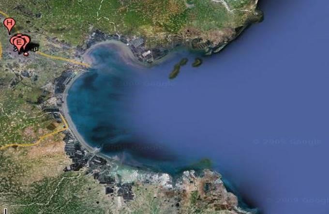 从谷歌地图上看中国近海污染。(Public Domain)