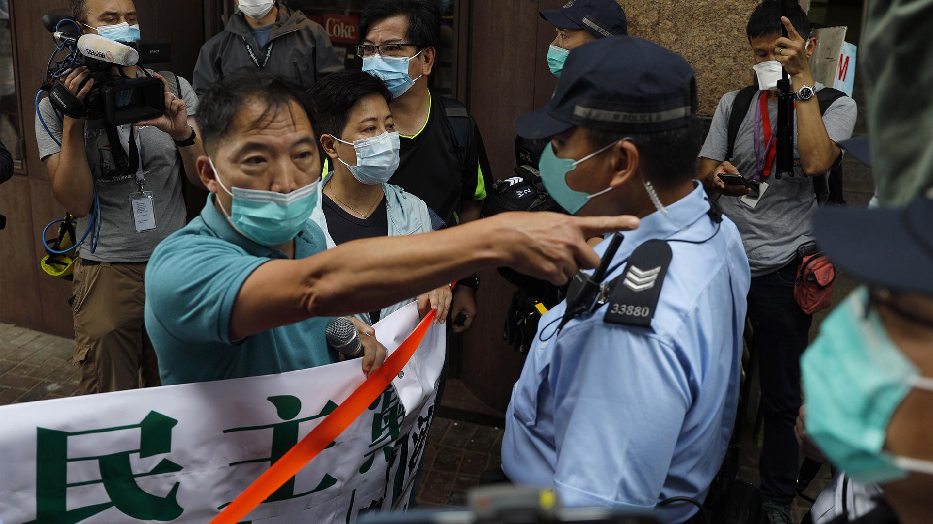 2020年5月22日,香港的抗议民众。(美联社)