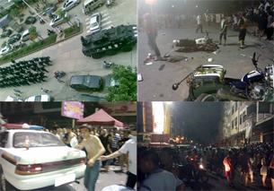 图片:广州市郊增城因一名四川籍孕妇与保安员发生肢体冲突引发上千人的大规模骚乱,警方带走25人调查。(网友提供/记者心语)