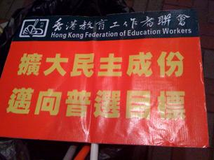 图片:政改方案表决在即,左派团体发起支持政改大游行中的标语 (心语摄)