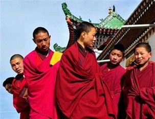 图片:青海贵南的藏族年轻僧众(法新社)