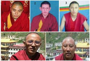 图片:9月1号被捕的玉树州称多县赛康寺五名僧人:1. 次成格桑 2. 索南西热 3. 阿旺莫朗 4. 索南英尼 5. 洛桑晋巴(受访人提供)