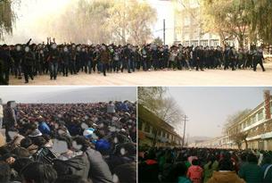 图片: 黄南州学生们高呼口号表达诉求。 (同仁境内受访人提供/记者丹珍)