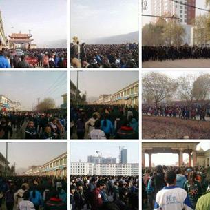 图片: 青海黄南州数千学生展开游行示威。 (同仁境内受访人提供/记者丹珍)