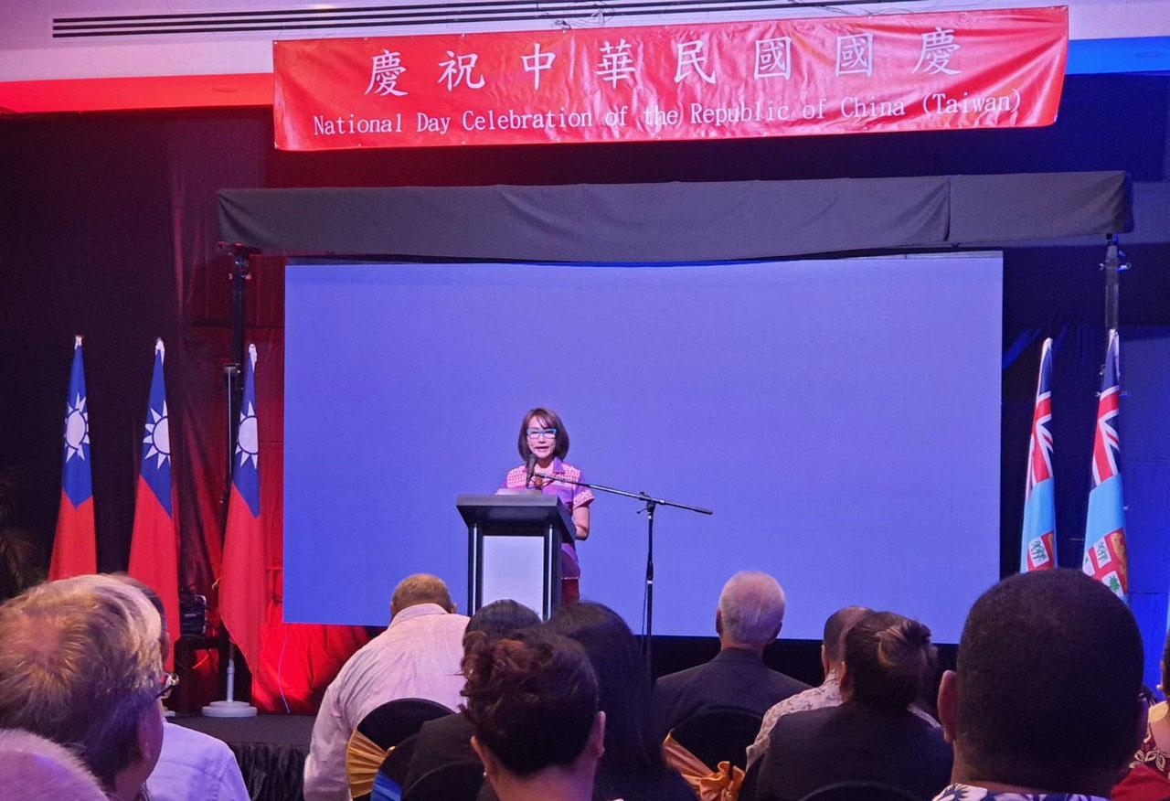 台湾驻斐济代表处10月8日在斐济举办国庆酒会,包含前斐济总理等百余政要参加。(Peter Sui提供)