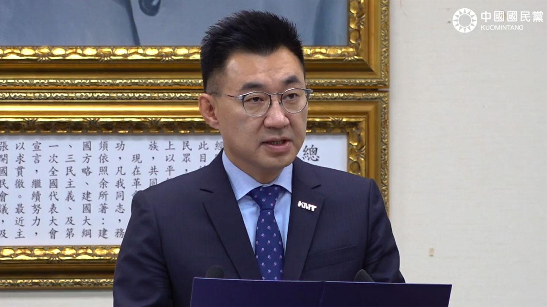 国民党主席江启臣在中常会例行谈话上(江启臣脸书视频截图)