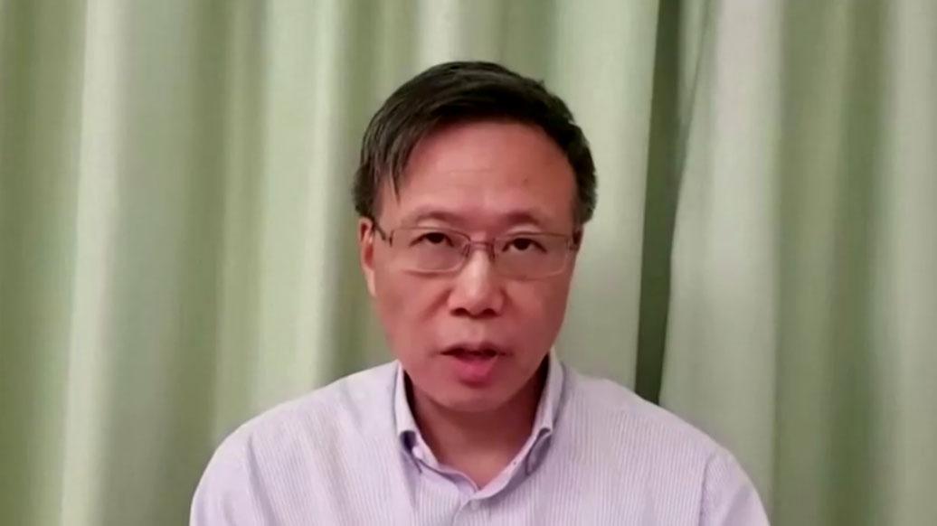 2019年11月18日清晨,理大校长滕锦光发表录像讲话。(视频截图/路透社)