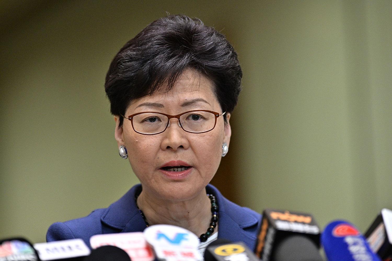 2019年6月10日,特首林郑月娥在香港举行新闻发布会。(法新社)
