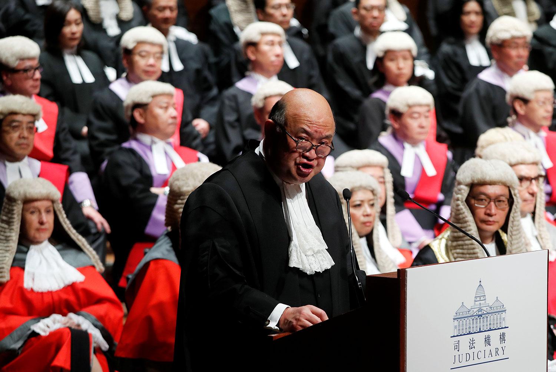 香港终审法院首席法官马道立将于2021年退休。图为,2019年1月14日,马道立于2019法律年度开启典礼上致辞。(路透社)
