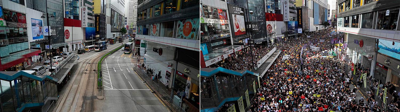 左图:2021 年 7 月 1 日在香港七一大游行过去地点,车辆和电车在街道上行驶 。右图:2019 年 7 月 1 日,成千上万的抗议者涌上街头,参加七一大游行。(美联社)