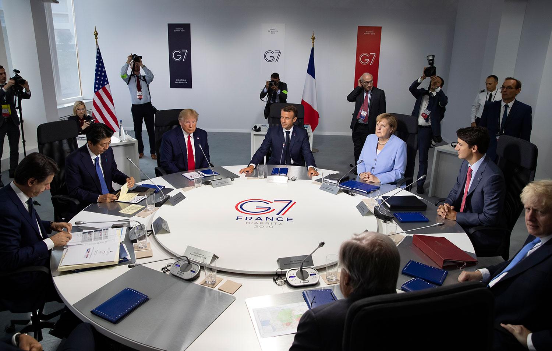 2019年8月26日,在法国举行的七大工业国集团峰会(G7)。(法新社)