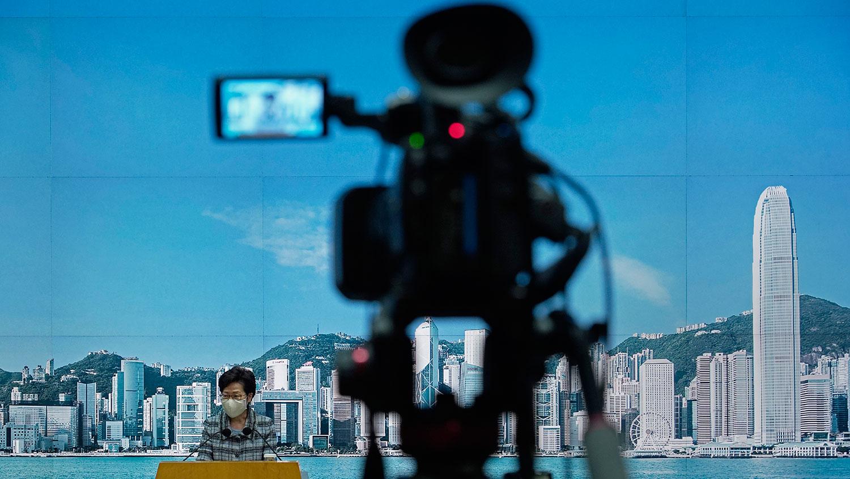 2020年10月12日,香港行政长官林郑月娥在新闻发布会上。(AP)
