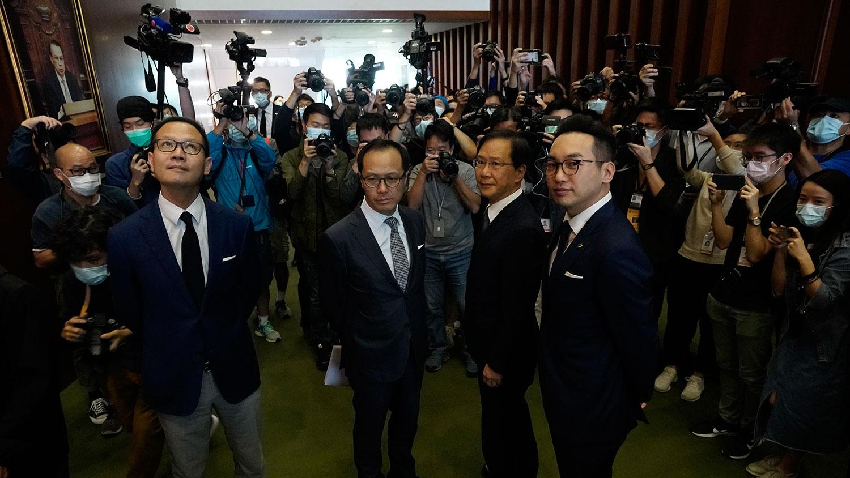 2020年11月11日,北京褫夺4名香港民主派议员资格,香港立法会举行新闻发布会上。(美联社)