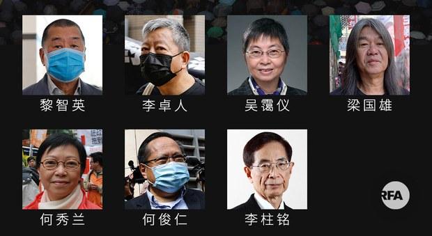 香港民主人士李柱铭、黎智英等七人非法集结罪成