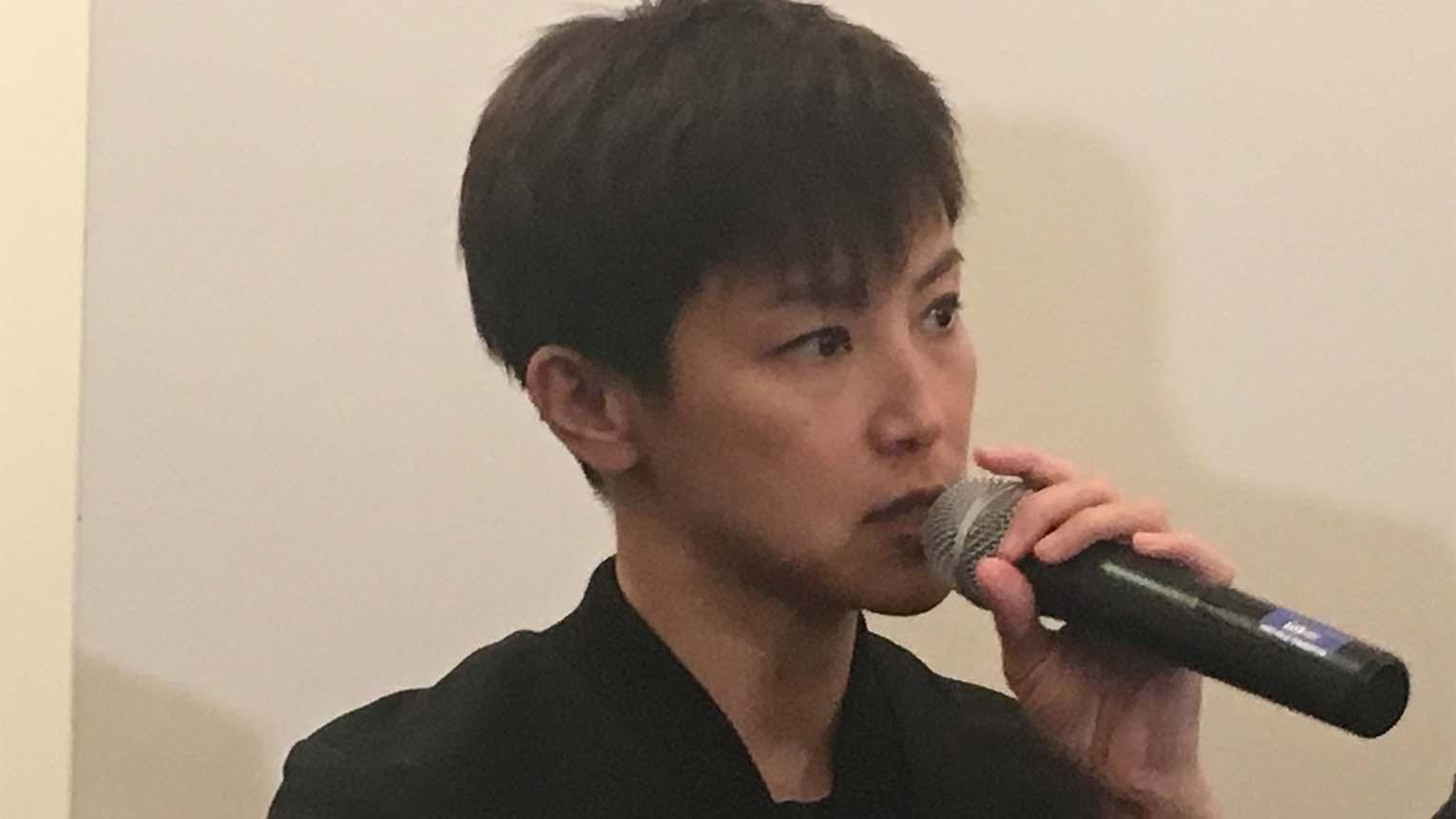 """2019年9月19日,独立歌手何韵诗在华盛顿出席""""全球台湾研究所""""举办的的《分域大道》纪录片放映会,呼吁香港和台湾急需团结一致,捍卫自由民主。(薛小山摄影)"""