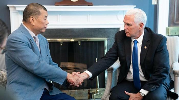 2019年7月8日,香港壹传媒创办人黎智英与美国国务卿蓬佩奥会见后拜会了美国副总统彭斯。 (Photo/The White House)
