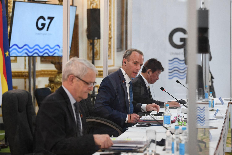 英國外交大臣拉布在倫敦蘭開斯特宮舉行的七國集團外長會議上。 (i法新社)