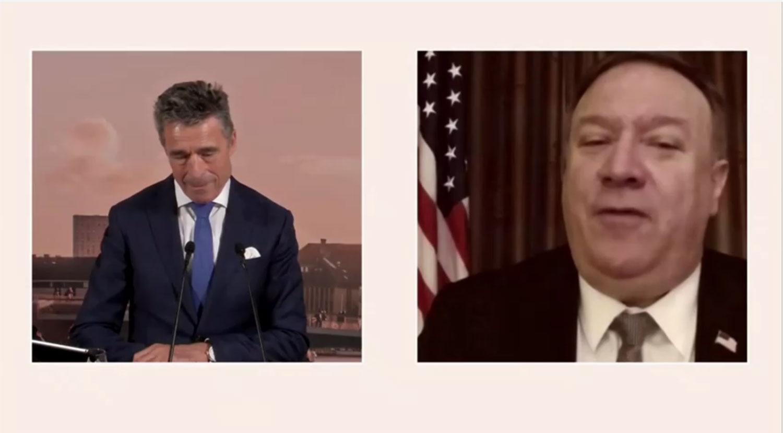 6月19日上午11:30,蓬佩奥通过视频在哥本哈根民主峰会上发表演讲。(路透社)