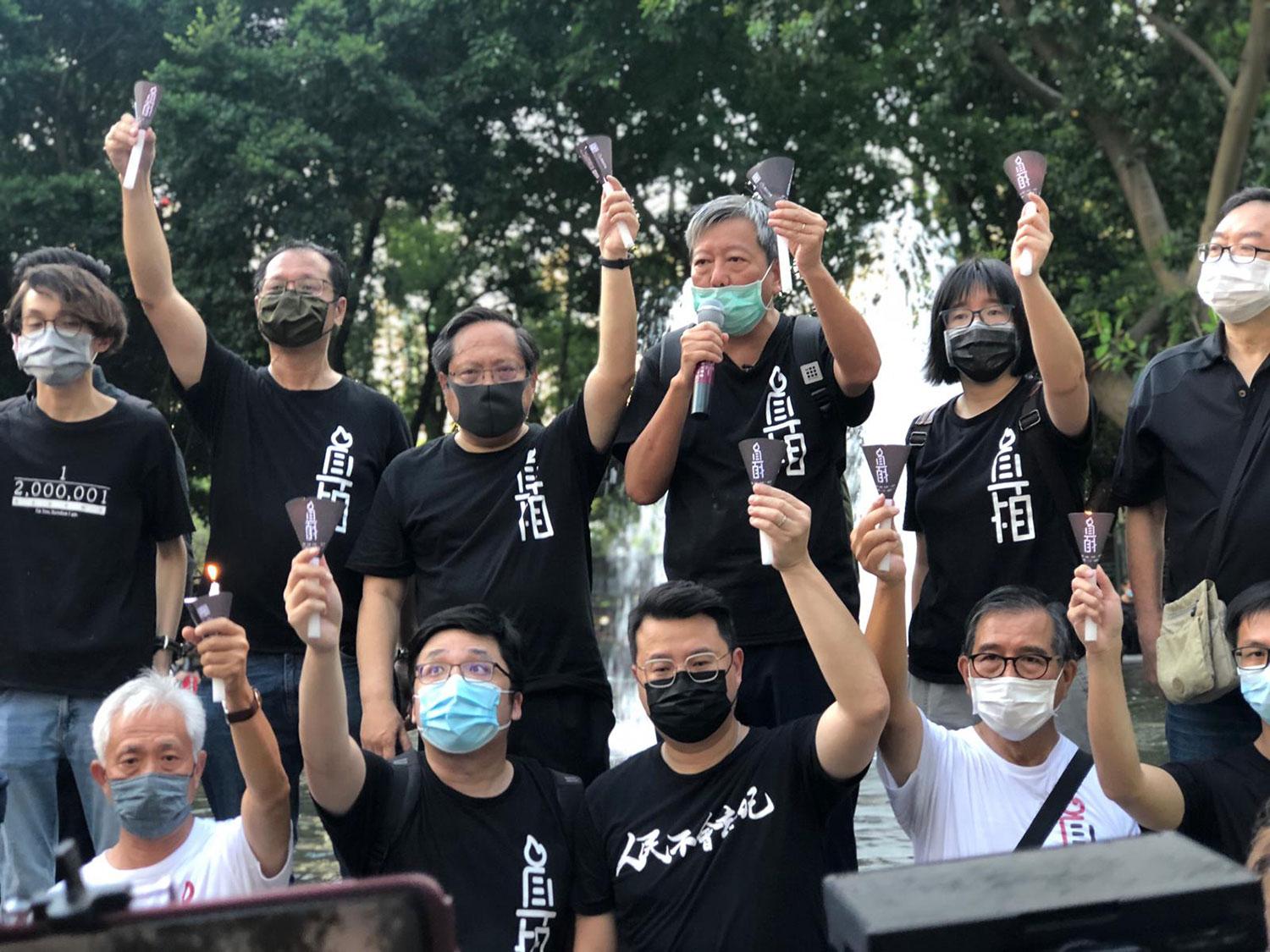 2020年6月4日,香港支联会坚持进入维多利亚公园悼念六四。(文海欣摄)