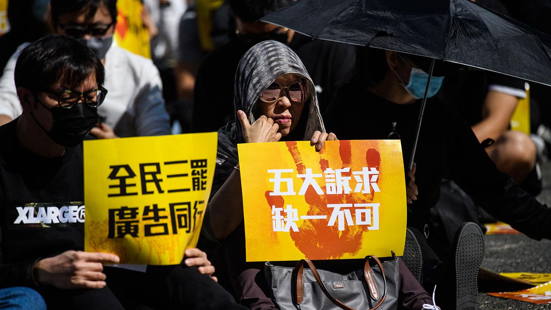 2019年12月2日,香港广告界人士举行为期五天的罢工,要求特区政府回应五大诉求。(法新社)