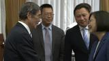 2019年5月23日,台湾的总统蔡英文打破30年惯例,首度在六四前会见滕彪(左二)等多名中国大陆的民运人士。(视频截图)