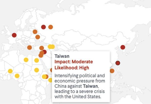 美国智库潜在冲突风险报告 台湾升级为最高等级