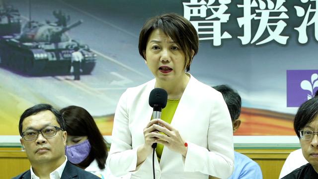 民进党立委范云提出,声援六四最好的方式就是一个民主的台湾。(记者 李宗翰摄)