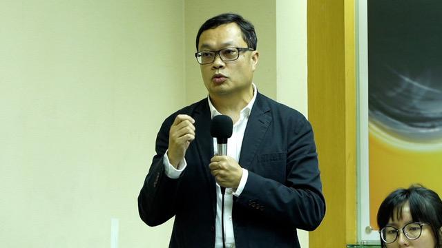 陆委会前副主委陈明祺称六四是遗忘与记忆的战争。(记者 李宗翰摄)